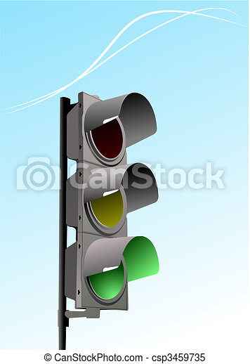 Set of traffic lights. Red signal. Yellow signal. Green signal - csp3459735