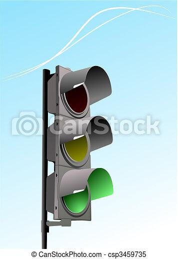 Set of traffic lights. Red signal. Yellow signal. Green signal - csp3459735