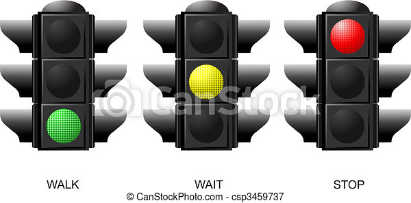 Set of traffic lights. Red signal. Yellow signal. Green signal - csp3459737