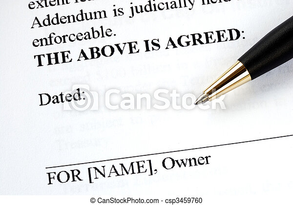 The owner signs the legal document with a pen - csp3459760
