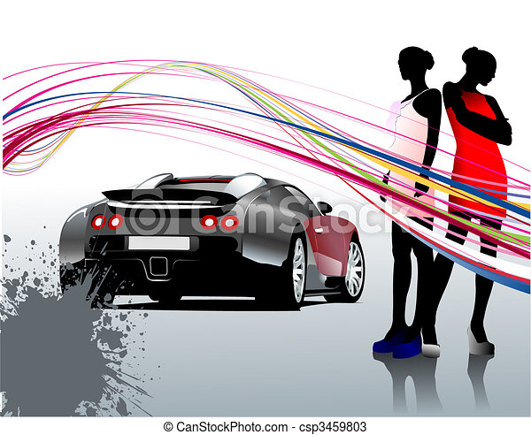 Car sedan and two girls composition. Vector illustration - csp3459803