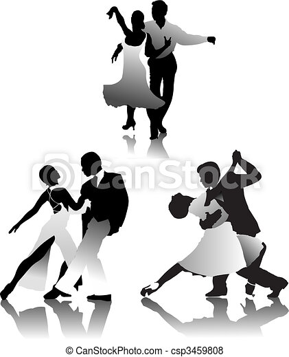 Three couples dancing a tango - csp3459808