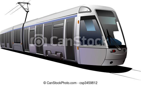 City transport. Tram. Vector illustration - csp3459812
