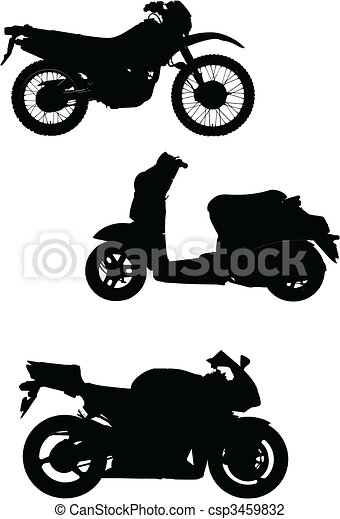 Three vector illustrations of motorcycle. Help for designers - csp3459832