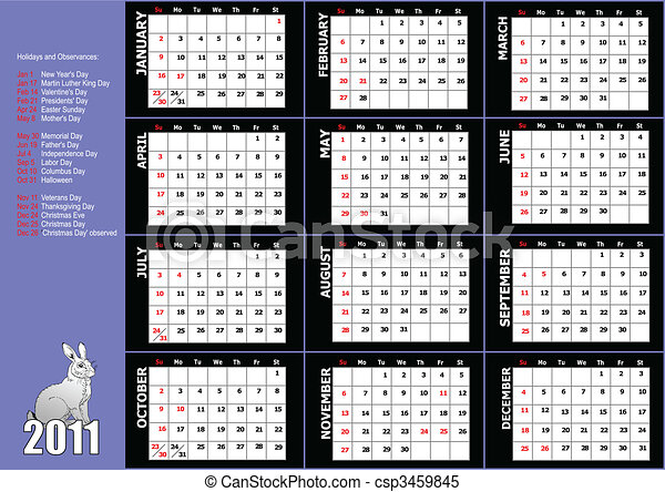 2011 calendar with American holidays - csp3459845