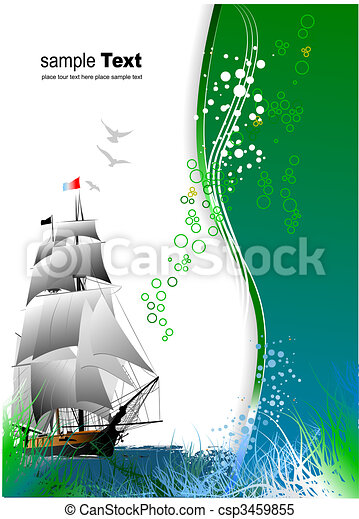 Cover for brochure with old sailing vessel - csp3459855