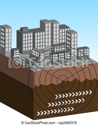 terremoto, ilustración - csp3460318