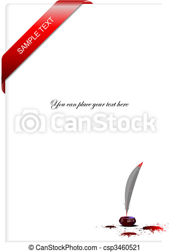 Blank letter with corner ribbon In - csp3460521