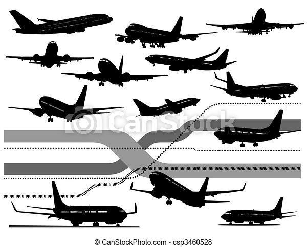 Six black and white Airplane  - csp3460528