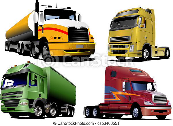 Four   trucks on the road. Vector illustration - csp3460551