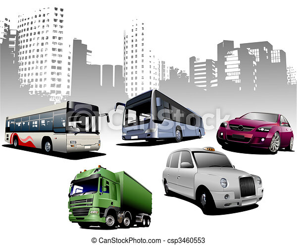 Five examples of city transport on urban background. Vector - csp3460553