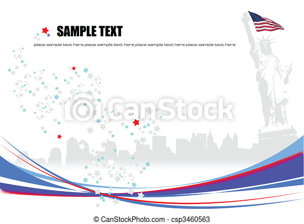 Poster Independence day of United States of America with place for text - csp3460563