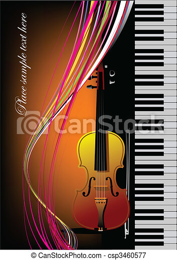 Piano with violin. Vector colored illustration. Cover for book - csp3460577