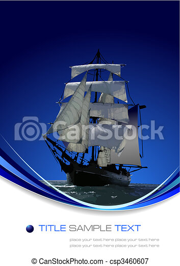 Marine background with sail ship. Vector illustration - csp3460607