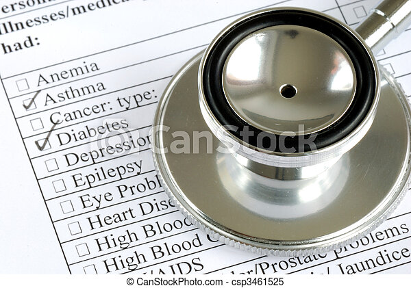 A stethoscope on the top of the medical history from a patient - csp3461525