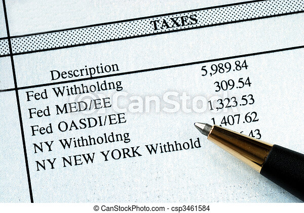 A list of withholding taxes from the pay stuff - csp3461584