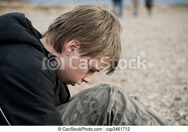 Portrait of a Depressed pre-teen boy. - csp3461712