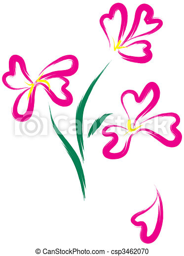 Still-life with pink flowers as heart-form - csp3462070