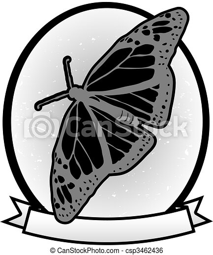 llustrated Gray scale Monarch Butterfly badge banner ad vector - csp3462436