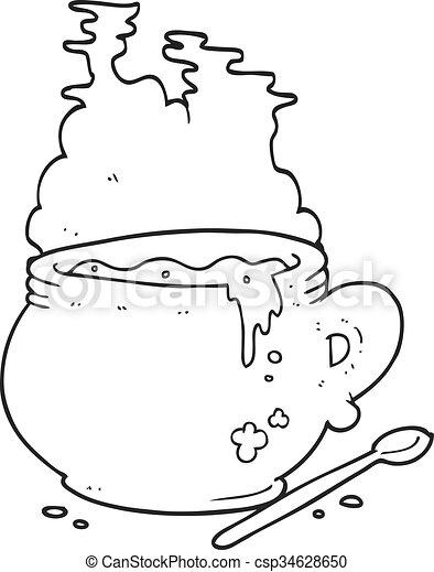 Schüssel clipart  Clipart Vektor von suppe, weißes, schüssel, karikatur, schwarz ...