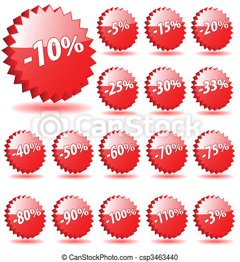3D vector star badges with discount numbers for promotion and marketing. - csp3463440