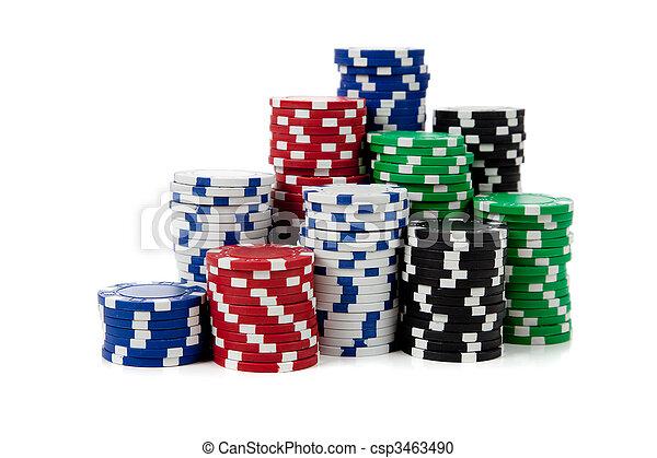 Stacks of poker chips on white - csp3463490