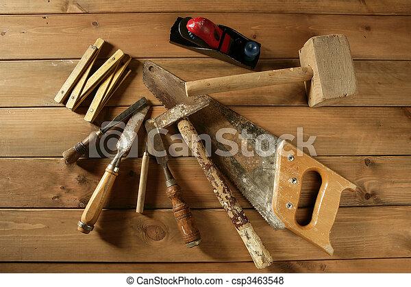 carpenter tools saw hammer wood tape plane gouge - csp3463548