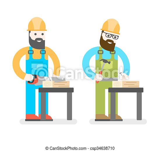 Vector clip art of construction worker with saw man for How to find a good builder