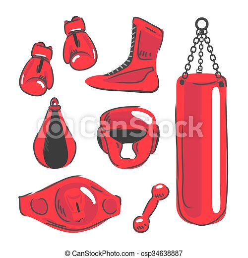 vector of fighting and boxing equipment. boxing gloves vector