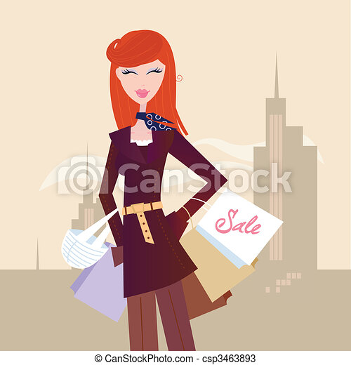 Fashion woman with shopping bags in town - csp3463893