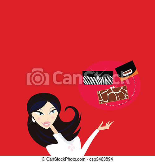 Sexy woman go shopping - what kind of hand bag? - csp3463894
