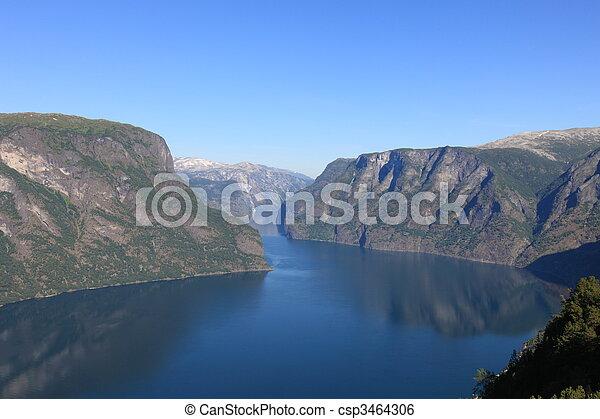 Tranquil scene in Norwegian Fjord - csp3464306