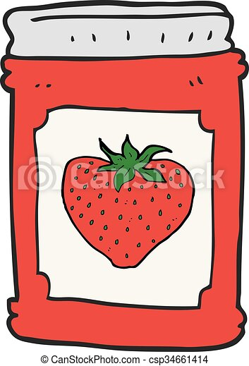 vector clip art of cartoon strawberry jam jar freehand