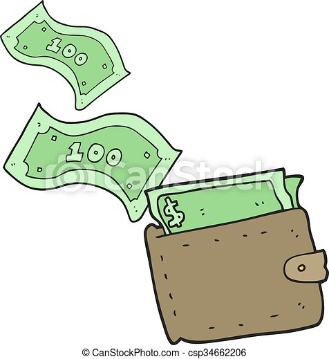 Vector Clipart of cartoon wallet full of money - freehand ...