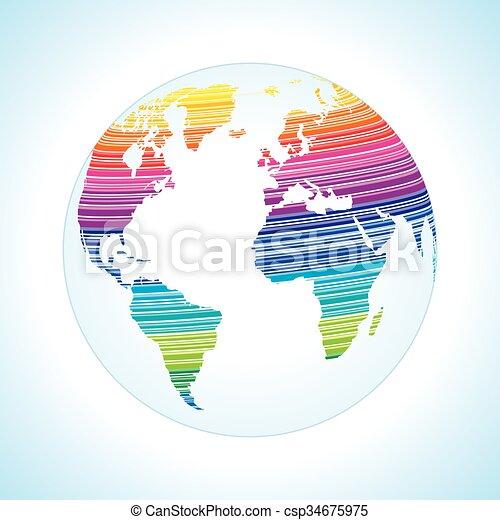 Digital world map design  - csp34675975