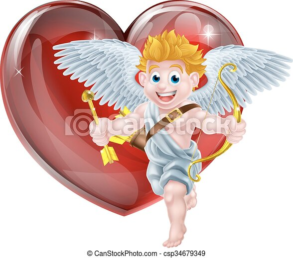 EPS Vector of Valentines Cupid and Heart - Cupid valentines day angel ...