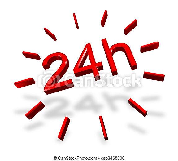 24 hours around the clock symbol - csp3468006