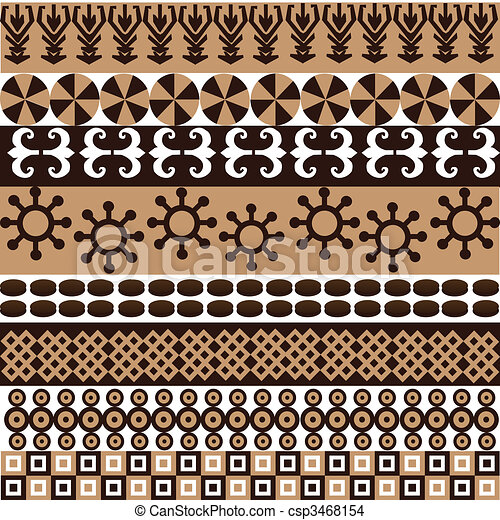 Ethnic pattern with african symbols and ornaments - csp3468154