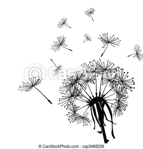 Illustration de noir pissenlit dans les vent - Dessin fleur pissenlit ...