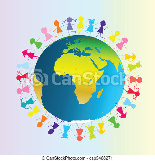 Children around planet Earth - csp3468271