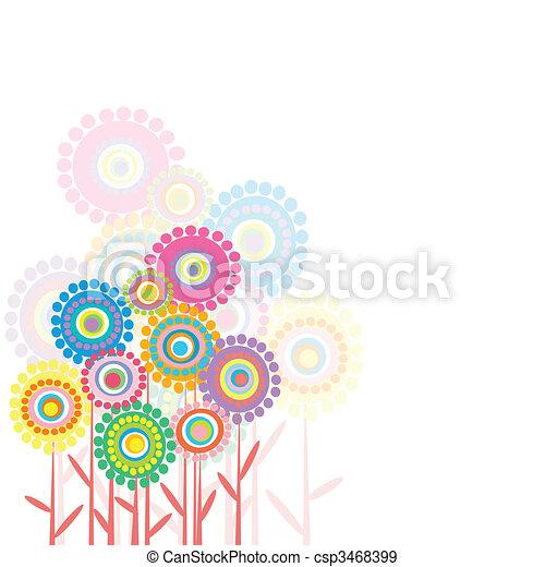 Retro flowers on white background - csp3468399