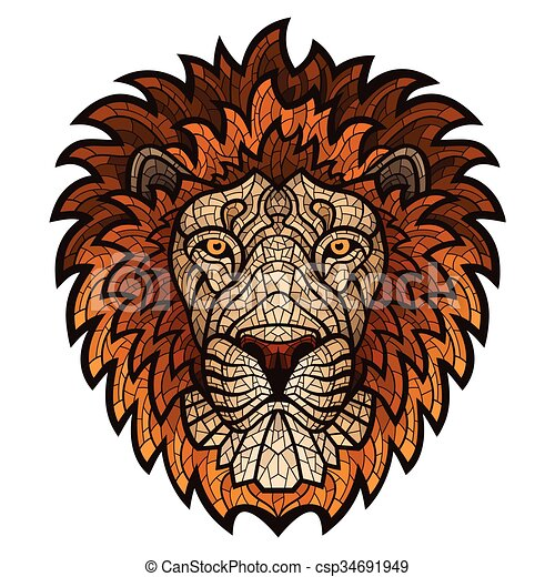 Ethnic patterned ornate head of Lion. - csp34691949