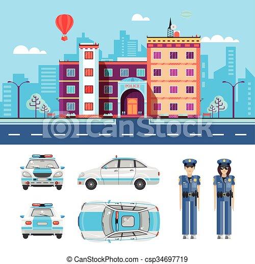 Polizeiwache clipart  Vektor Clip Art von 1, station, polizei - Set, bestand, vektor ...
