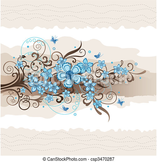 Floral turquoise greeting card - csp3470287