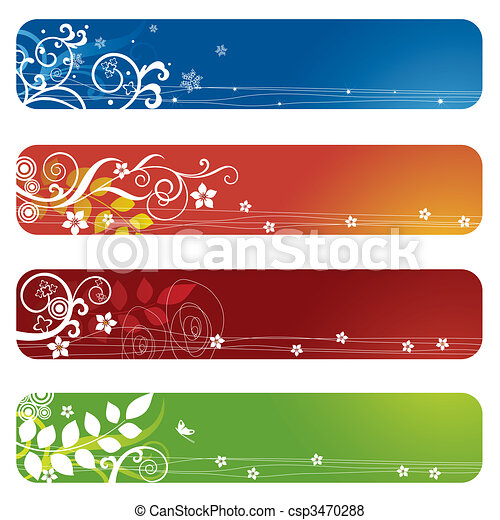 Four floral banners or bookmarks - csp3470288