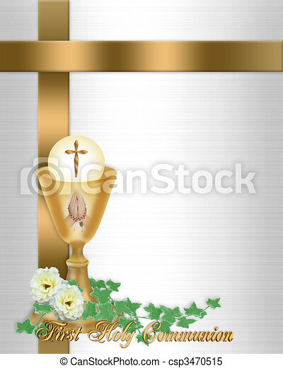 Holy Communion Invitation Background - csp3470515