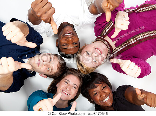 Faces of smiling Multi-racial college students - csp3470546