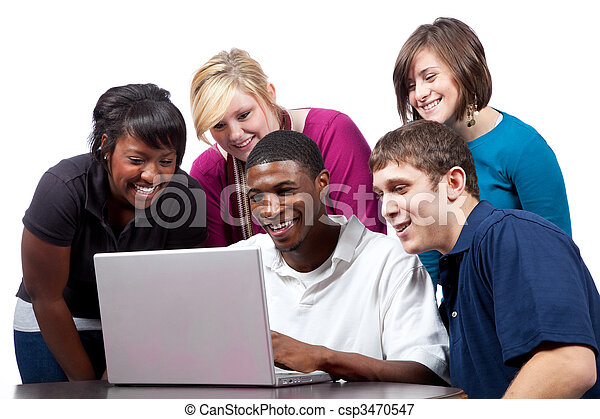 Multi-racial college students sitting around a computer - csp3470547