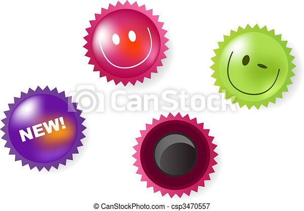 Smiling And News Icons Of Magnets - csp3470557