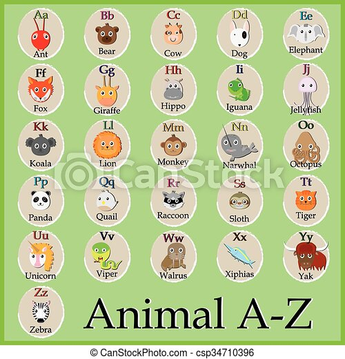 Vektor - CÙte, tier, Alphabet, lustiges, karikatur, zeichen, a, B, C ...